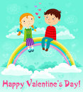 Valentines day girl and boy sitting on a rainbow in the sky Royalty Free Stock Photography