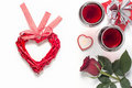 Valentines Day with a glass of red wine, gift, candles view from above Royalty Free Stock Photo