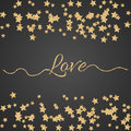 Valentines day glitter shimmer card background gold love word with confetti border on black and swashes Royalty Free Stock Photos
