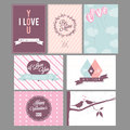 Valentines day greeting card or background collection of vintage cards Royalty Free Stock Photo