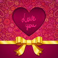 Valentines day greeting card with heart and ribbon Stock Image