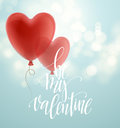 Valentines day greeting card with red heart shape balloon. Vector illustration