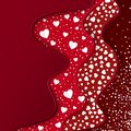 Valentines Day greeting card. Red Layers with different Decorative Elements. Paper White Hearts. Romantic Weeding Design.