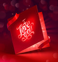 Valentines Day greeting card with ribbon Stock Images