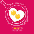 Valentines day greeting card with romantic breakfast illustration. Fried egg in heart shape and hand drawn watercolor pan. Royalty Free Stock Photo
