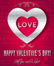 Valentines day greeting card with silver text ve vector illustration Stock Images