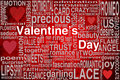 Valentines day greeting card with terms and hearts on a red bakcground Stock Photos