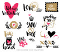 Valentines day hand drawn design elements with calligraphy. Royalty Free Stock Photo