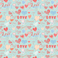 Valentines day hand drawn elements seamless pattern. Sketched doodle elements hearts symbols and lettering for wedding invitations