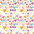 Valentines day hand drawn elements seamless pattern.