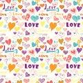 Valentines day hand drawn elements seamless pattern.