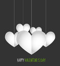 Valentines day hanging paper hearts Stock Image