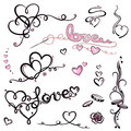 Valentines day hearts colorful lettering vector set Stock Photos