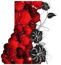 Valentines day hearts and flowers red black silhouettes on white background retro pattern Stock Photo