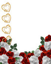 Valentines Day Hearts and Roses Border Stock Image