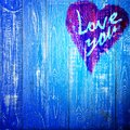 Love You Heart Greeting On Distressed Vintage Grunge Texture Wood Background Painted Royalty Free Stock Photo