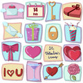 Valentines day icons design elements set of valentine s Royalty Free Stock Photo