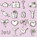 Valentines day icons design elements set of valentine s Stock Images