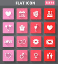 Valentines day icons set in flat style with long s vector application shadows Stock Photos