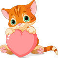 Valentines day kitten cute little holding love heart Stock Photo