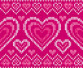 Valentines day knitted vector seamless pattern