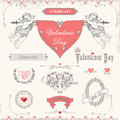 Valentines day labels icons elements collection vector set calligraphic design and page decoration lots of useful to embellish Royalty Free Stock Photography