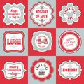 Valentines day labels tags decorative items a diverse set of for the for valentine s with words and wishes valentine Stock Photo