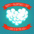 Valentines day love is in the air greeting card with heart shaped cloud ribbons and textured background vector illustration Stock Photos