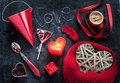 Valentines day love or desire red symbols mix on black background concept board Royalty Free Stock Image