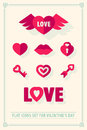 Valentines day love icons set with hearts retro vintage style eps illustration Royalty Free Stock Photo