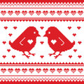 Valentines Day, love pixelated card with birds and hearts Royalty Free Stock Photo