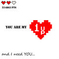 Valentines Day love and romance vector design old dos games gamer lover theme `you are my 1UP and I need you` emotional quote with