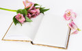 Valentines day mothers day composition love diary and fresh spring flowers white background copy space Stock Images