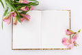 Valentines day mothers day composition love diary and fresh spring flowers white background copy space Stock Image