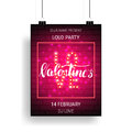 Valentines Day party poster template with shiny lettering and calligraphy