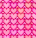 Valentines day pink hearts seamless pattern vector Stock Image
