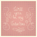 Valentines day pink vector card retro illustrated Royalty Free Stock Photography