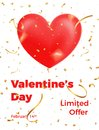 Valentines Day. Poster for Valentine`s sale, promo etc. Glossy heart, gold confetti and trendy typography