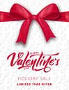 Valentines Day. Poster for Valentine`s sale, promo etc. Realistic silk bow with ribbon and script lettering