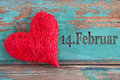 Valentines day red heart against a wooden background Stock Photography