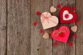 Valentines Day red heart shaped gift boxes over wood Royalty Free Stock Photo