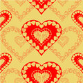 Valentines day red hearts seamless texture gold background Royalty Free Stock Photo