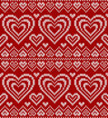 Valentines day red knitted vector seamless pattern
