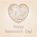 Valentines day retro card in vintage style vector illustration Stock Photos
