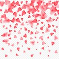 Valentines Day romantic background of red hearts petals falling. Realistic flower petal in shape of heart confetti. Love Royalty Free Stock Photo