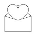 Valentines day romantic mail heart envelope open outline