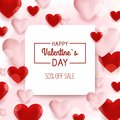 Valentines day sale background with Heart Shaped Balloons. Vector illustration.Wallpaper.flyers, invitation, posters