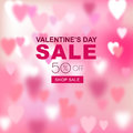 Valentines day sale banner. Blurred love background with pink hearts. Vector romantic holidays poster with defocused light.