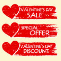 Valentines day sale and discount special offer with hearts in r text three red drawn banners Royalty Free Stock Photo