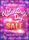 Valentines day sale poster on abstract background.